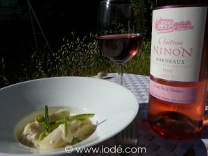 Cannelloni de courgettes au maigre de l'estuaire et son Château Ninon Bordeaux Rosé 2012