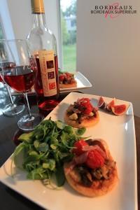 Tartelettes vitaminées aux légumes d'été et le Château de Lisennes Bordeaux Clairet